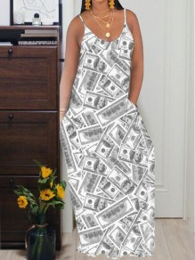 Grey Us Dollar Pattern Pockets Spaghetti Strap Deep V-neck Casual Maxi Dress