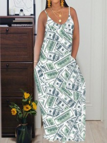 Green Us Dollar Pattern Pockets Spaghetti Strap Deep V-neck Casual Maxi Dress
