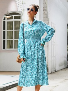 Blue Floral Pattern Band Collar V-neck Long Sleeve Bohemian Maxi Dress