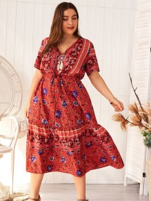 Red Floral Print Pleated Plus Size Bohemian Maxi Dress
