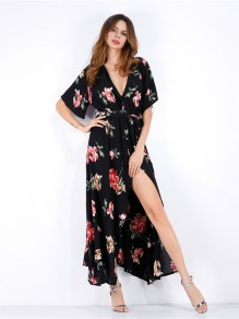 Black Red Flowers Slit V-neck Short Sleeve Fashion Maxi Dress