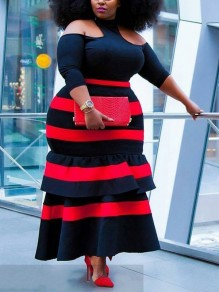 Red Striped Cascading Ruffle Halter Neck Cut Out Plus Size Bodycon Prom Evening Party Maxi Dress