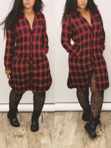 Red Buffalo Checkered Buttons Pockets Long Sleeve Casual Maxi Dress