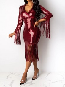 Burgundy Patchwork Sequin Tassel V-neck Sparkly Glitter Birthday Prom Evening Party Maxi Dress