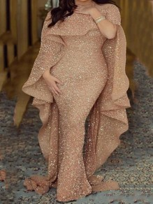Golden Patchwork Sequin Cloak Bodycon Sparkly Glitter Birthday Mermaid Prom Evening Party Maxi Dress