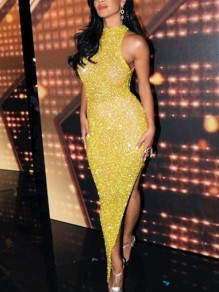 Yellow Patchwork Sequin Halter Neck Bodycon Side Slits Sparkly Glitter Birthday Party Maxi Dress
