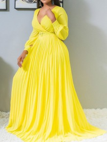Yellow Belt Pleated V-neck Plus Size Elegant Party Maxi Dress