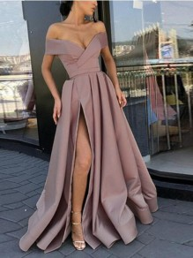 Pink Off Shoulder Pleated Thigh High Side Slits Prom Evening Party Maxi Dress