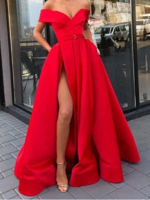 Red Off Shoulder Pleated Thigh High Side Slits Prom Evening Party Maxi Dress