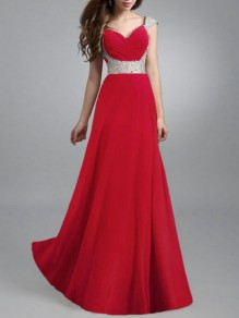 Red Patchwork Grenadine Plissee Big Swing Prom Abend Party Maxi-Kleid