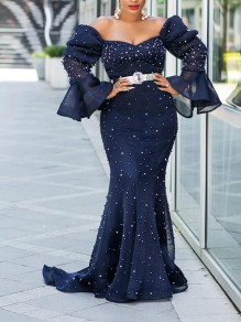 Navy Blue Patchwork Grenadine Pearl Off Shoulder Bodycon Mermaid Sparkly Glitter Birthday Prom Party Maxi Dress