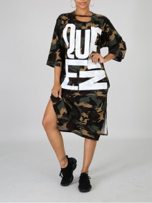 Camouflage Letter Pockets Casual Maxi Dress