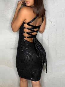 Black Patchwork Sequin Off Shoulder Lace-up Bodycon Sparkly Glitter Birthday Party Maxi Dress