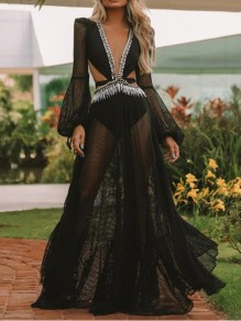 Black Patchwork Grenadine Cut Out Sheer Lantern Sleeve Beachwear Party Maxi Dress