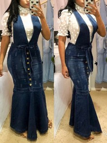 Dark Blue Buttons Belt Bodycon Mermaid Denim Overall Maxi Dress