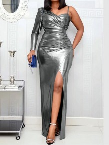 Grey Asymmetric Shoulder Patent Leather Bodycon Thigh High Side Slits Party Maxi Dress