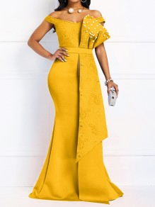 Yellow Patchwork Lace Bow Pearl Off Shoulder Bodycon Mermaid Prom Evening Party Maxi Dress