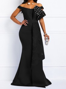 Black Patchwork Lace Bow Pearl Off Shoulder Bodycon Mermaid Prom Evening Party Maxi Dress