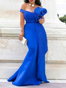 Blue Patchwork Lace Bow Pearl Off Shoulder Bodycon Mermaid Prom Evening Party Maxi Dress