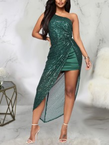 Green Patchwork Sequin Asymmetric Shoulder Irregular High-Low Sparkly Glitter Birthday Party Maxi Dress