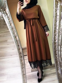 Brown Patchwork Lace Belt Round Neck Long Sleeve Fashion Maxi Dress
