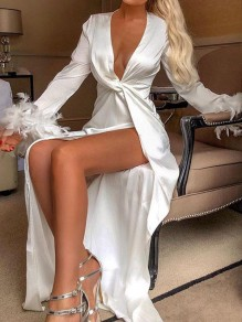 White Patchwork Knot Plunging Neckline Long Sleeve Fashion Maxi Dress