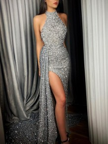 Silver Patchwork Sequin Halter Neck Sleeveless Slit Elegant Maxi Dress
