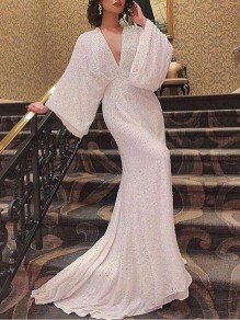 White Patchwork Sequin Deep V-neck Flare Sleeve Backless Elegant Maxi Dress