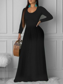 Black Pleated Round Neck Long Sleeve Big Swing Casual Church Maxi Dress