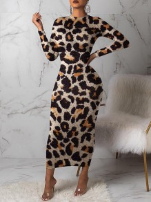 Brown Leopard Print Round Neck Long Sleeve Bodycon Clubwear Hot Maxi Dress