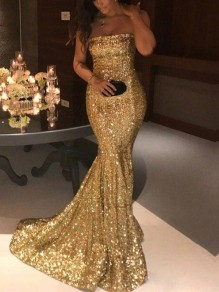 Golden Patchwork Sequin Bandeau Sleeveless Elegant Mermaid Maxi Dress