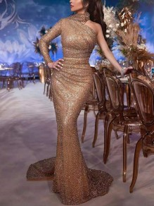 Golden Patchwork Sequin Asymmetric Shoulder Long Sleeve Elegant Maxi Dress