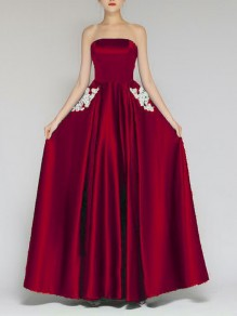 Burgundy Patchwork Lace Bandeau Pleated Elegant Banquet Maxi Dress