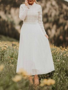 White Patchwork Lace Pleated Long Sleeve Fashion Homecoming Party Maxi Dress