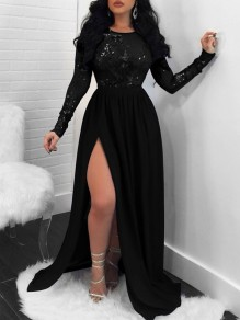 Black Patchwork Sequin Cut Out Backless Long Sleeve Slit Maxi Dress