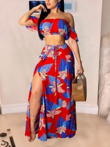 Red Boohoo Palm Print Ruffle Off Shoulder Crop Two Piece Side Slit Beach Maxi Dress