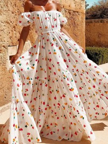 White Floral Print Off Shoulder Backless Bohemian Maxi Dress