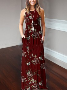 Burgundy Floral Print Pockets Loose Round Neck Casual Women Bohemian Maxi Dress