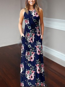 Nacy Blue Floral Print Pockets Loose Round Neck Casual Women Bohemian Maxi Dress