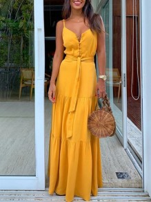 Yellow Buttons Belt Lace-up Shoulder-Strap V-neck Draped Big Swing Flowy Beach Maxi Dress