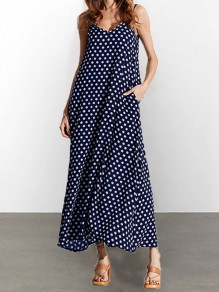 Dark Blue Polka Dot Pockets V-neck Spaghetti Strap Casual Women Maxi Dress