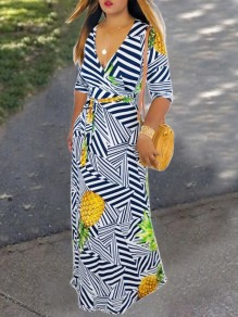White-Navy Blue Striped Geometric Pineapple Print Belt V-neck Elbow Sleeve Big Swing Beach Maxi Dress