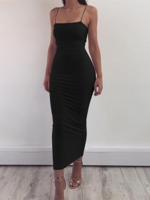 Schwarz Spaghettiträger Rückenfreies Ärmellos Bodycon Enges Midikleid Partykleid Cocktailkleid