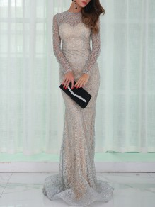 Silver Patchwork Grenadine Sequin Pattern Round Neck Long Sleeve Mermaid Party Slim Formal Maxi Dress