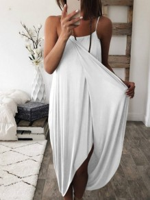 White Wrap Spaghetti Strap Irregular High-Low Loose Women Casual Maxi Dress