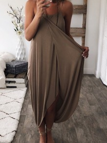 Coffee Wrap Spaghetti Strap Irregular High-Low Loose Women Casual Maxi Dress