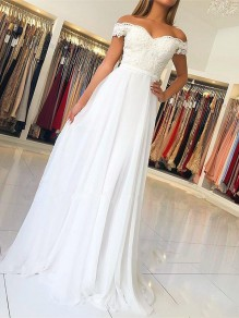 White Patchwork Lace Off Shoulder Backless Short Sleeve Party Maxi Dress
