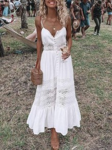 White Lace Cut Out Adjustable-straps V-neck Single Breasted Flowy Beach Maxi Dress
