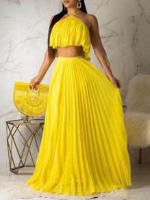 Yellow Halter Neck Sleeveless Pleated Two Piece High Waisted Pleated Skirt Big Swing Going Out Maxi Dress