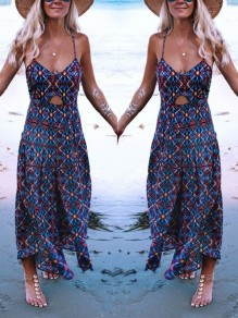 Navy Blue Floral Flowy Cut Out Spaghetti Strap V-neck Bohemian Beach Maxi Dress
